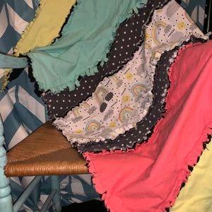 New handmade kids throw rag quilt